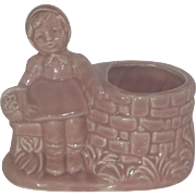 Pink Planter Girl Sitting by Wishing Well