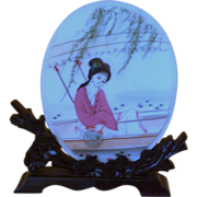 Asian Small Hand Painted Double Sided Scene and Stand