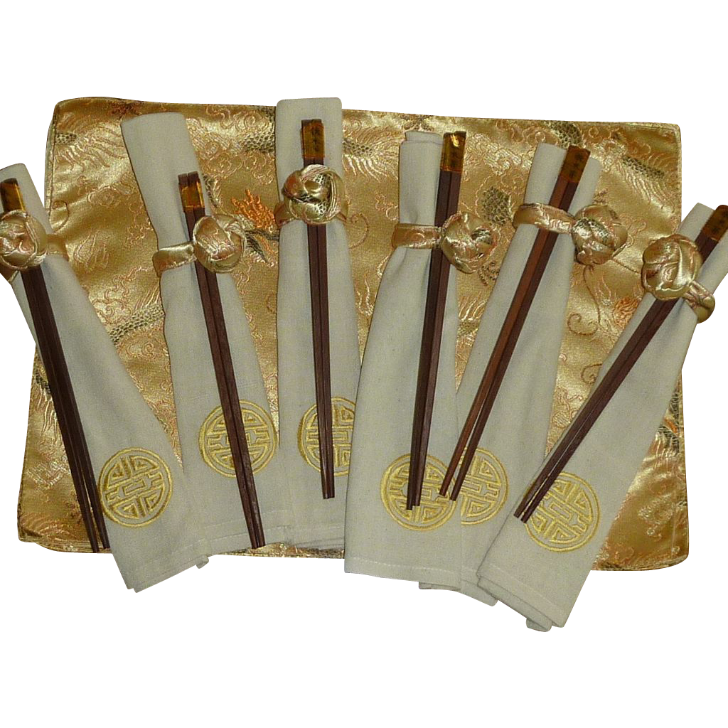 Set of Matching Place Mat, Napkin, Napkin Ring and Chop Sticks