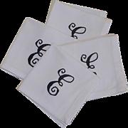 White Linen E Initial Cocktail Napkin Set