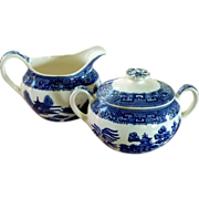 Blue Willow Pattern Sugar and Creamer Set
