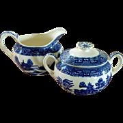 Blue Willow Pattern Sugar and Creamer Set