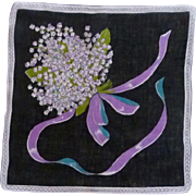 Black Background Purple Bouquet of Lily of the Valley Handkerchief