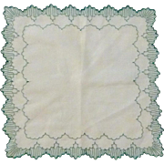 Green Dainty Scalloped Handkerchief Hanky Hankie