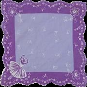 Lilac Purple Ballerina Dancer Handkerchief Hanky Hankie