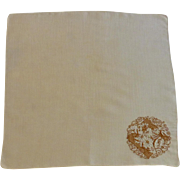 Brown Initial M on Tan Linen Handkerchief