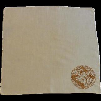 Brown Initial M on Tan Linen Handkerchief