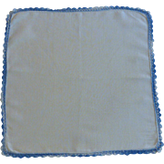 Crocheted Variegated Blue Edging on White Linen Handkerchief