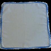 Crocheted Variegated Blue Edging on White Linen Handkerchief