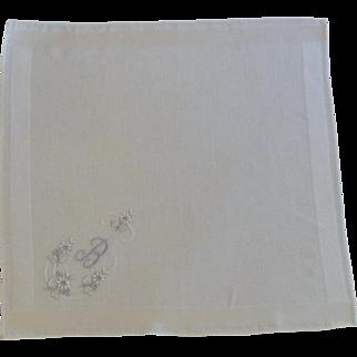 White with Blue Initial B  Handkerchief Hankie Hanky