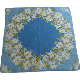 Blue with White Dogwood Flowers Handkerchief