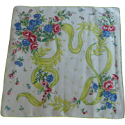 Ribbons and Flowers on White Handkerchief Hankie Hanky