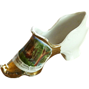 Souvenir German Porcelain High Slipper Shoe