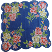 Bold and Scalloped Blue with Pink and Yellow Roses Handkerchief