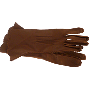 Brown Nylon 1950's Women's Vintage Gloves
