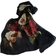 Black with Red Flowers Echo Neck Scarf