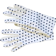 Navy Blue Polka Dots on White Gloves 1950's
