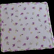 Crochet Edge Purple Flowers on White Handkerchief Hanky