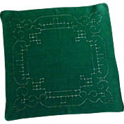 Forest Green Drawn Hand Work Handkerchief Hanky