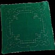 Forest Green Drawn Hand Work Handkerchief Hanky