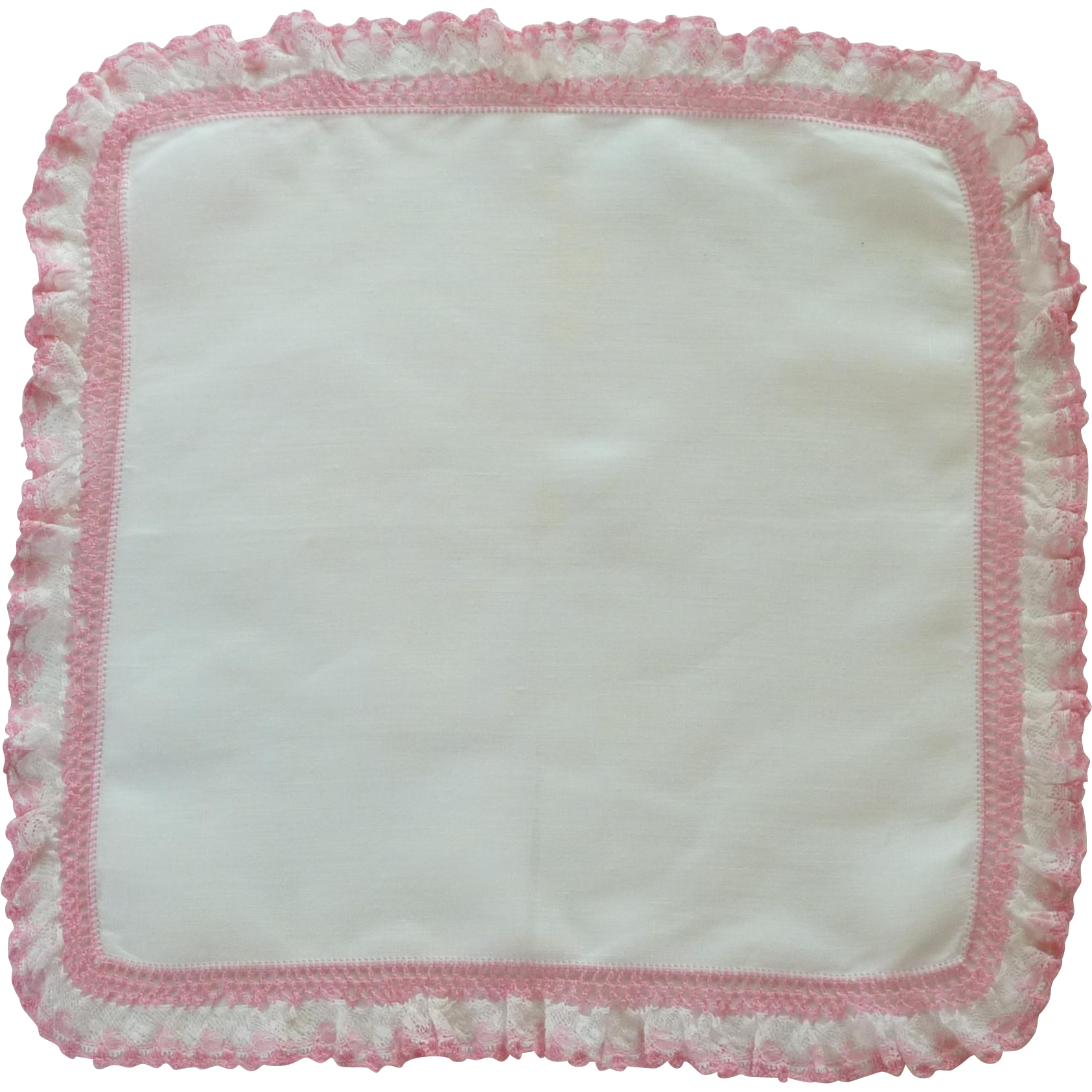 White Linen with Pink Lace and Crochet Edge Handkerchief Hanky