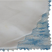 White Linen Blue Crocheted Edge Handkerchief Hanky