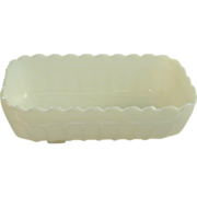 Rectangular White Milk Glass Planter or Bread Loaf Dish