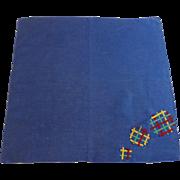 Large Navy Blue Applique Balls Handkerchief Hanky Hankie