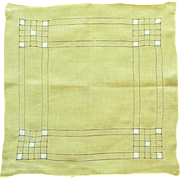 Beautiful Soft Yellow Cutwork Linen Handkerchief Hanky