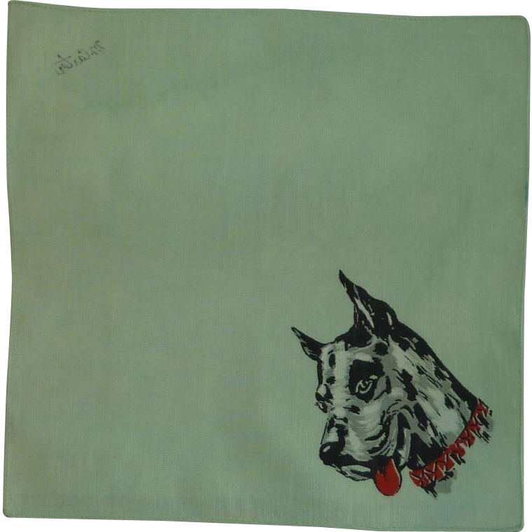 Great Dane Print on Green Handkerchief Hanky