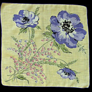 Purple Poppies Flowers on Yellow Cotton  Handkerchief