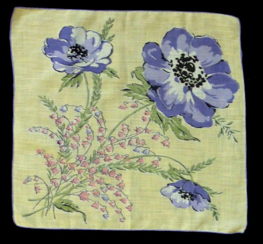 Purple Poppies Flowers on Yellow Cotton  Handkerchief