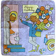 1963 Skandia Print Happy Birthday Handkerchief Hanky