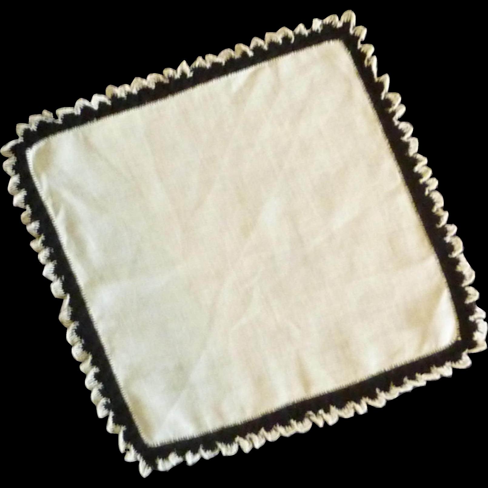 White / Black Edged Handkerchief Hankie