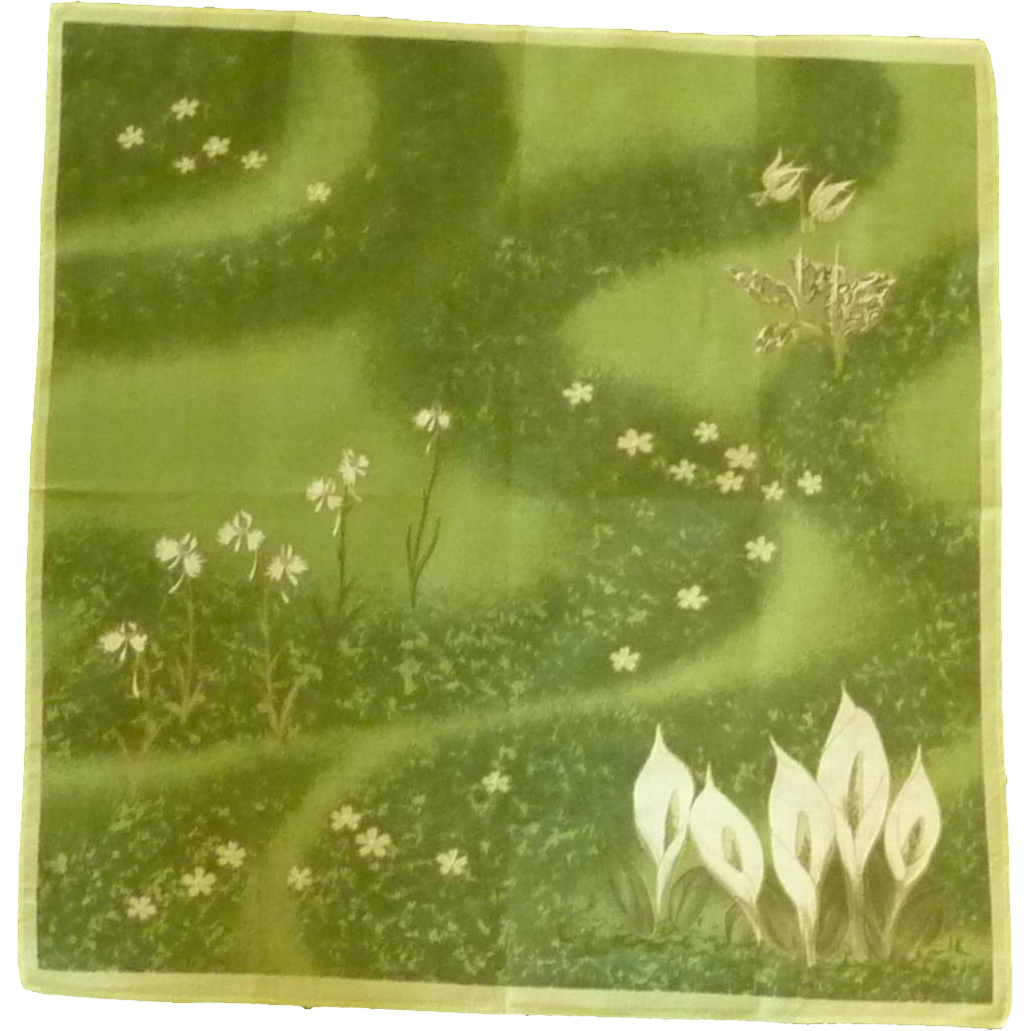Green and White Calla Lily Handkerchief Hankie