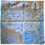 USA United States Map Handkerchief Hanky