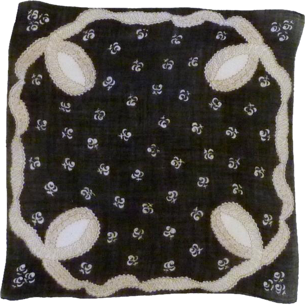 Black and White Linen Handkerchief Hanky