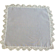 Plain White Handkerchief with Crochet Lace on Edge