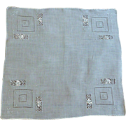 Lovely Drawn and Pulled White Handkerchief