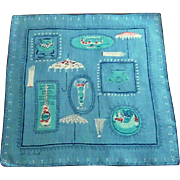 Pat Prichard Signed Blue Victorian Themed Handkerchief