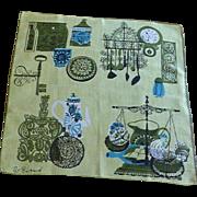 Pat Prichard Signed 1960's Lime Green Handkerchief