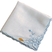 White and Blue Cutwork Dainty Scallop Handkerchief