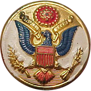 Vintage Military WWII Great Seal Eagle Metal Button