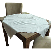 Small White on White Square Linen Tablecloth