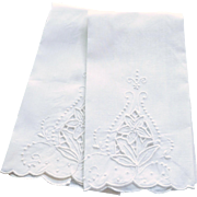 Two White on White Cutout Embroidered Hand Towels