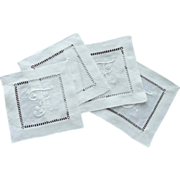 F   Initial Set of White Linen Cocktail Napkins