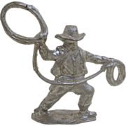 Lead Western Cowboy with Lasso Toy Figure