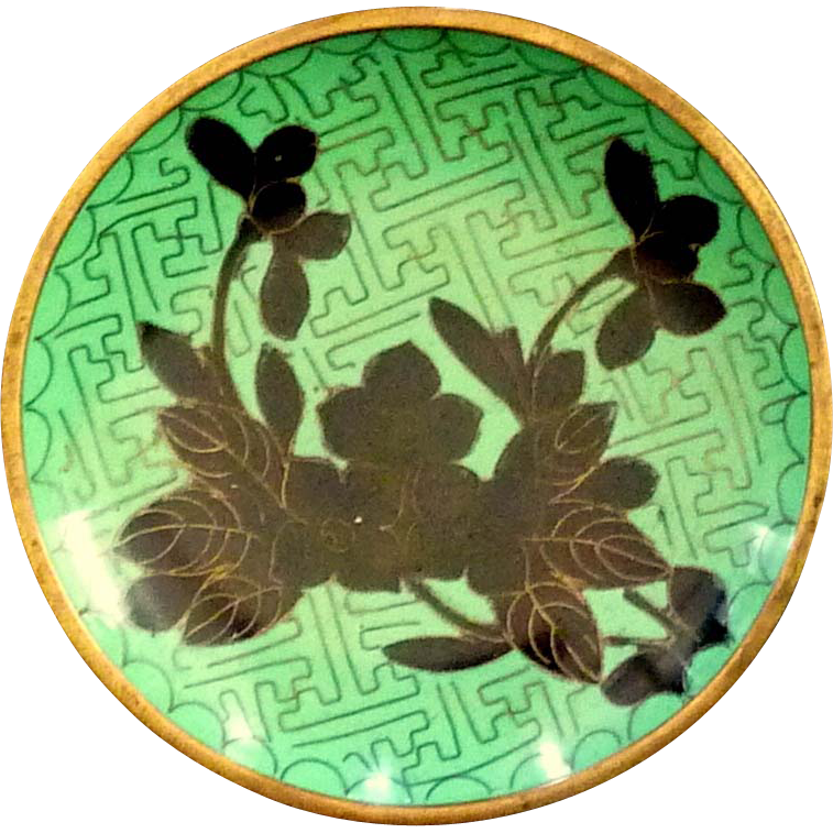 Chinese Cloisonné Green and Black Brass Plate