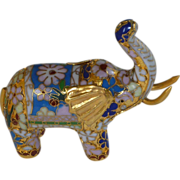 Asian Cloisonné White & Blue Miniature Elephant