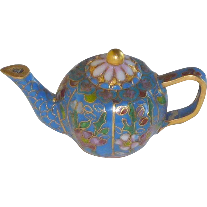 Miniature Asian Cloisonné Cloisonne Tea Coffee Pot